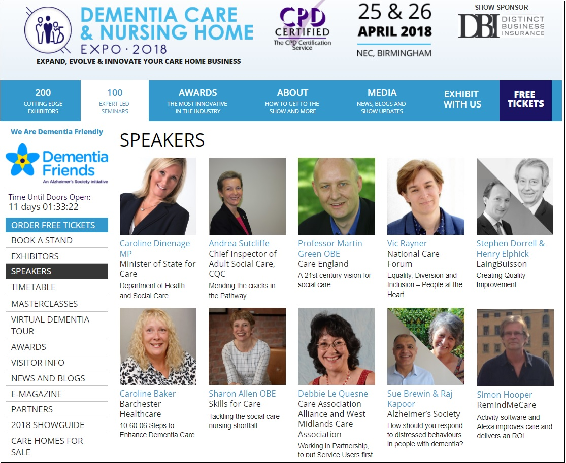 Dementia care and nursing show