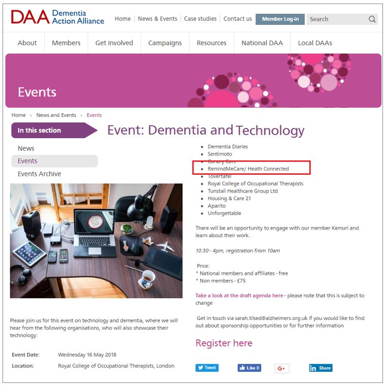 DAA Meeting 2018 Dementia & technology